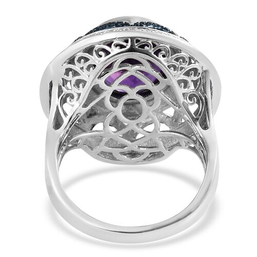 Amethyst (Ovl), Diamond Ring in Platinum Overlay Sterling Silver 8.000 Ct. Silver wt 9.52 Gms.