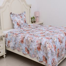 2 Piece Set - Multi Colour Floral Pattern Quilt (Size 180x240 Cm) and Pillow Case (Size 70x50+5) Lav
