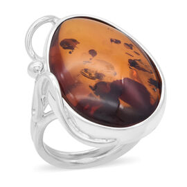 Natural Baltic Amber Ring in Sterling Silver, Silver wt 5.95 Gms