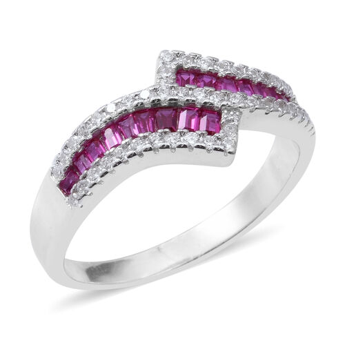 ELANZA Simulated Ruby and Simulated Diamond Bypass Cross Over Ring in Rhodium Plated Silver