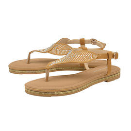 Dunlop Amy Toe Post Flat Sandals in Tan Colour