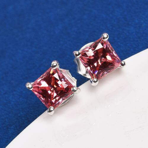 J Francis - Sterling Silver Stud Earrings (with Push Back) Made with PINK SWAROVSKI ZIRCONIA 2.75 Ct.