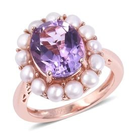 4.75 Ct Rose De France Amethyst and Freshwater Pearl Halo Ring in Sterling Silver 6.5 Grams