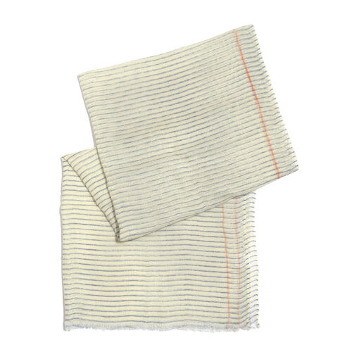 One Time Deal-100% Merino Wool Off White and Blue Colour Stripes Pattern Scarf with Fringes (Size 180X70 Cm)