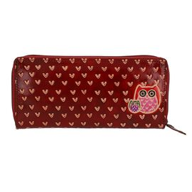 SUKRITI 100% Genuine Leather Owl Family Wallet with RFID Blocker (Size 22x10 Cm) - Red Wine