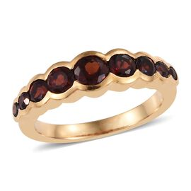 Mozambique Garnet (Rnd) Band Ring in 14K Gold Overlay Sterling Silver 1.25 Ct.