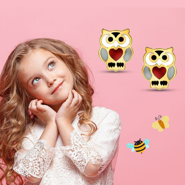 9K Yellow Gold Children Owl Stud Earrings (with Push Back)