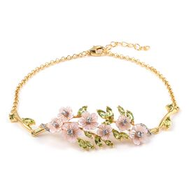 JARDIN COLLECTION - Pink Mother of Pearl, Hebei Peridot and Natural White Cambodian Zircon Enameled Floral Bracelet (Size 7.5 with 1 inch Extender) in Rhodium and Gold Overlay, Silver wt 6.87 Gms.