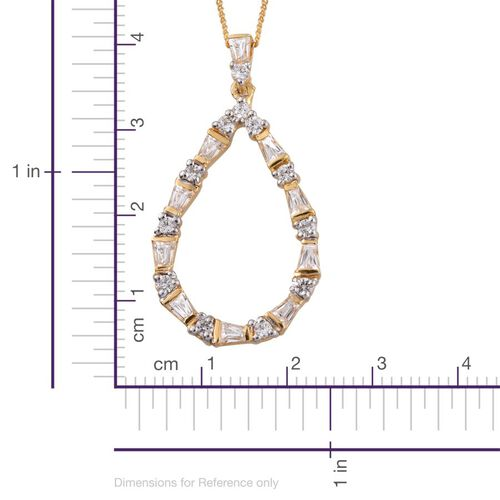 J Francis - 14K Gold Overlay Sterling Silver (Rnd) Pendant With Chain Made with SWAROVSKI ZIRCONIA