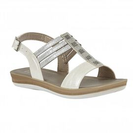Lotus White Rome Sling-Back Sandals