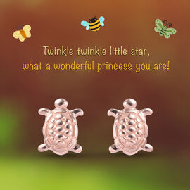Turtle Earrings for Children in Rose Gold Plated Silver