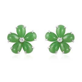 Green Jade (Pear), Natural White Cambodian Zircon Floral Stud Earrings (With Push Back) in Rhodium O