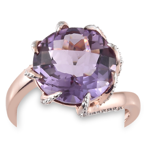 GP Rose De France (9.10 Ct),Cambodian Zircon,Kanchanaburi Blue Sapphire Sterling Silver Ring  9.500  Ct.