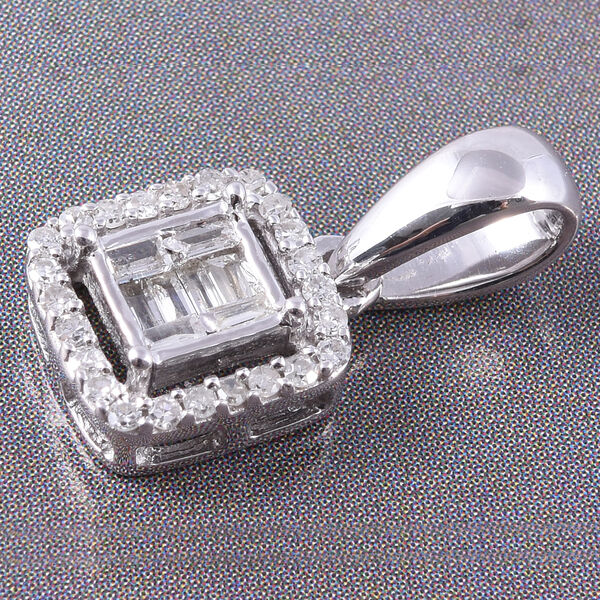 9K White Gold SGL Certified Diamond (Rnd and Bgt) (I3/G-H) Pendant  0.20 Ct.