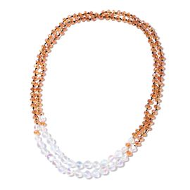 Champagne and Mystic Colour Beads Necklace 51 Inch