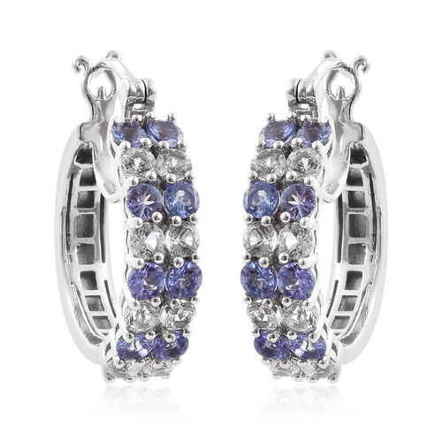 Tanzanite (Rnd), White Topaz Bouble Row Hoop Earrings (with Clasp) in Platinum Overlay Sterling Silver 4.000 Ct, Silver wt 7.86 Gms.