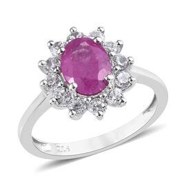 Rare Size Ilakaka Pink Sapphire (Ovl 8x6 mm), Natural Cambodian Zircon Ring in Platinum Overlay Ster