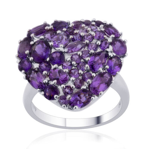 Amethyst (Ovl) Cluster Ring in Sterling Silver 3.467 Ct.