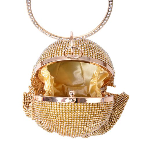 Premier Collection- White Austrian Crystals Embellished Golden Colour Clutch Bag with Circular Handle