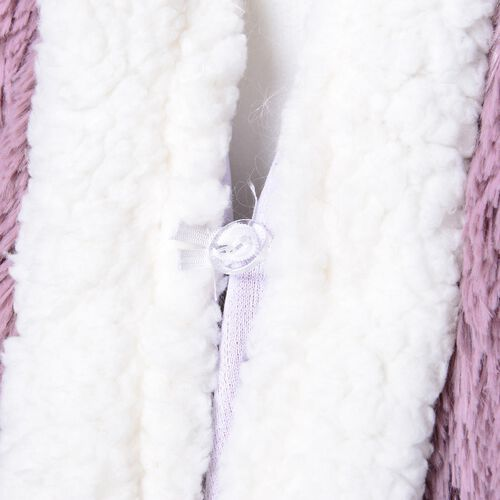 Designer Inspired-Super Soft Pink Colour Long Pile Wrap with Sherpa Border and Pockets (Free Size)