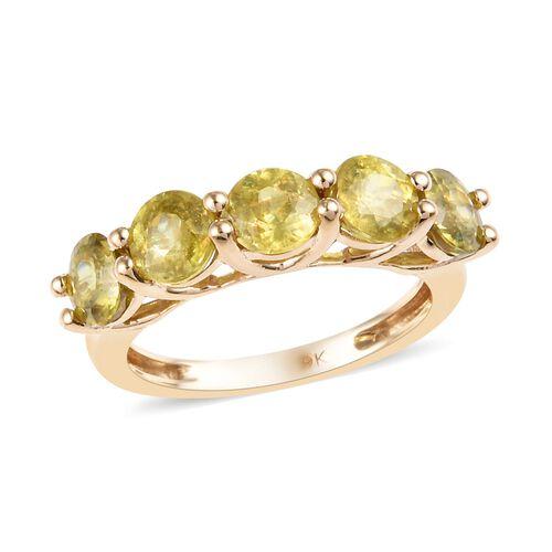 2.75 Carat Sava Sphene 5 Stone Ring in 9K Gold 2.77 Grams