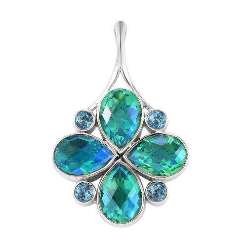 Sajen Silver - Peacock Quartz and Celestial Blue Doublet Quartz Pendant in Sterling Silver 5.91 Ct.