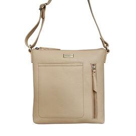 Assots London EDITH 100% Genuine Leather Pebble Grain Crossbody Bag - Pastel Yellow