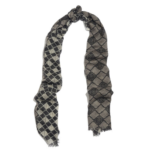 100% Merino Wool Grey, Black and Multi Colour Printed Scarf with Fringes (Size 170X70 Cm)