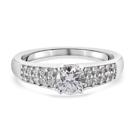 Swarovski Zirconia Main Stone With Side Stone Ring in Platinum Overlay Sterling Silver 1.63 ct  1.63