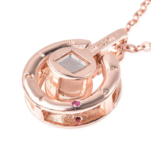 I Love You in Different Languages Projection Necklace with Chain (Size 20 with 2.5 inch Ext.) with Simulated Diamond in Rose Gold Tone