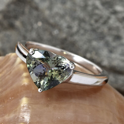 ILIANA 18K White Gold AAA Peacock Tanzanite (Hrt) Ring 3.130 Ct.