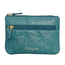 Assots London Mary 100% Genuine Leather Zip Top Coin Purse in Ocean Blue (Size 12.5x8.5cm)