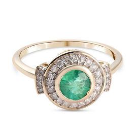 9K Yellow Gold AAA Zambian Emerald and Diamond Halo Ring 1.50 Ct