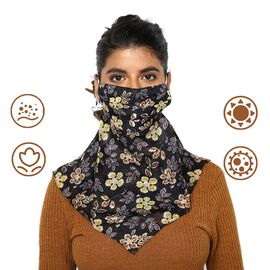 2-in-1 100% Silk Floral Pattern Soft Feel Scarf and Protective Face Mask (Size 43x43 cm) - Black