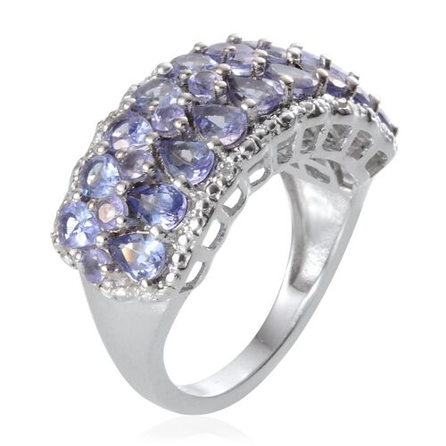 Tanzanite (Pear), Diamond Ring in Platinum Overlay Sterling Silver 3.170 Ct.