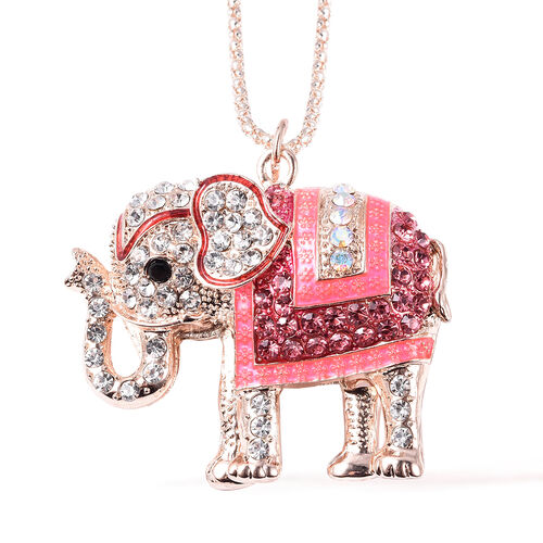 Set of 2 - Pink and Multi Colour Austrian Crystal Enamelled Elephant Pendant with Chain (Size 28 with 2 inch Extender) and Compact Mirror in Rose Gold Tone