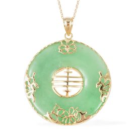 Green Jade Pendant With Chain (Size 18) in 14K Gold Overlay Sterling Silver 80.10 Ct.