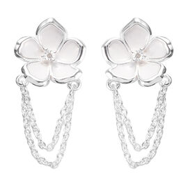 Diamond Floral Earrings in Sterling Silver