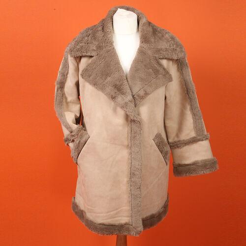 Urban Mist Faux Fur Suede Shearling Soft Fleece Lined Collar Coat with Pockets (Size XL; 14-16) (Len