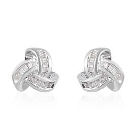 0.26 Ct Diamond Triple Knot Earrings with Push Back GH Colour in Platinum Plated Silver