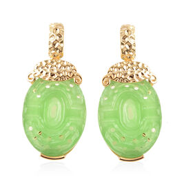 Green Jade Drop Earrings in Yellow Gold Overlay Sterling Silver 20.50 Ct.