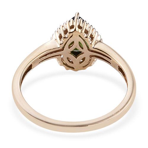 9K Yellow Gold AA Nigerian Green Tourmaline (Pear), Diamond Ring  0.915 Ct.