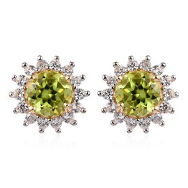 9K Yellow Gold AA Hebei Peridot (Rnd), Natural White Cambodian Zircon Stud Earrings (with Push Back)