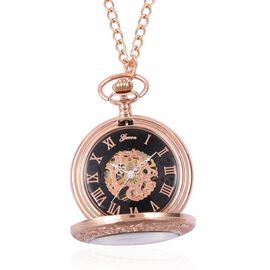 GENOA Automatic Skeleton Water Resistant Ornate Pattern Pocket Watch with Chain in Rose Tone
