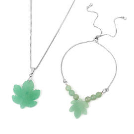 3 Piece Set - Green Aventurine Leaf Design Adjustable Bracelet and Pendant with Chain (Size 20) in S