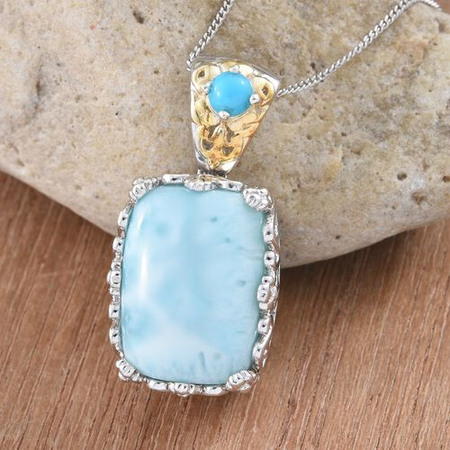 Extremely Rare Larimar (Cush), Arizona Sleeping Beauty Turquoise Pendant With Chain in Platinum and Yellow Gold Overlay Sterling Silver 18.200 Ct.