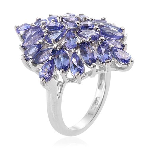 Tanzanite (Mrq) Cluster Ring in Platinum Overlay Sterling Silver 5.500 Ct. Silver wt 5.56 Gms.