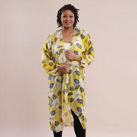 JOVIE Leaves Pattern Chiffon Long Cardigan (Size 117x56cm) - Yellow