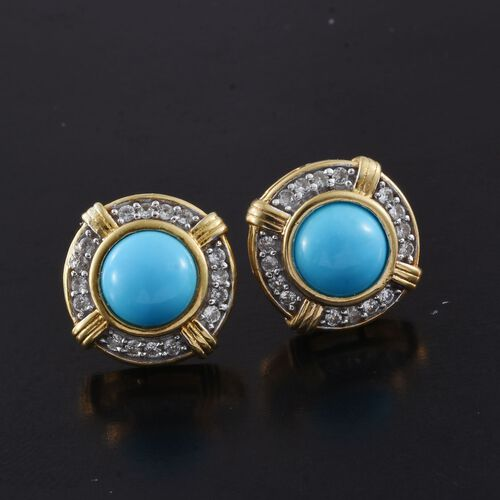Arizona Sleeping Beauty Turquoise (Rnd), Natural Cambodian Zircon Stud Earrings (with Push Back) in 14K Gold Overlay Sterling Silver 2.750 Ct.