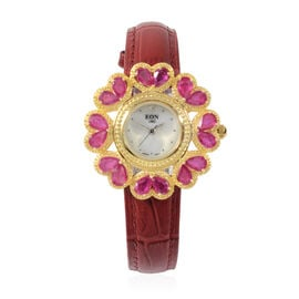 EON 1962 Swiss Movement African Ruby and Diamond Water Resistant Watch with White Mother of Pearl Di